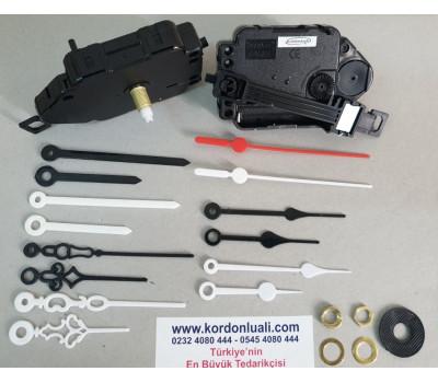Sarkaçlı Saat Makinesi Şaft 18,5 mm Plastik Akrep Yelkovanlı 100 Ad